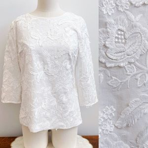 Talbots Floral Embroidered 3/4 Sleeve Blouse Sz 2